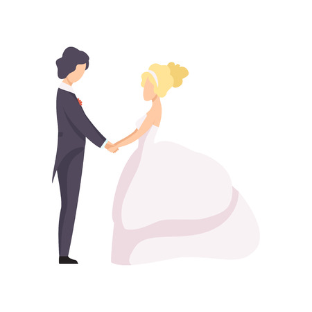 Beautiful elegant wedding love couple holding hands looking at each other, wedding ceremony vector Illustration on a white background 向量圖像