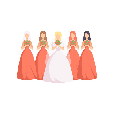 Beautiful bride with bridesmaids in identical dresses vector Illustration isolated on a white background.