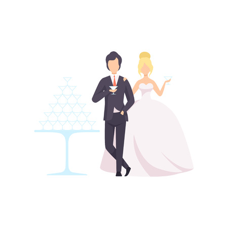 Elegant Bride and groom drinking champagne, romantic couple of newleads at wedding ceremony vector Illustration isolated on a white background.