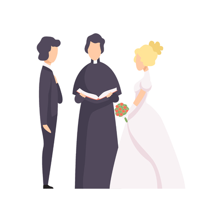 Couple of newlyweds and priest officiating wedding ceremony vector Illustration isolated on a white background.
