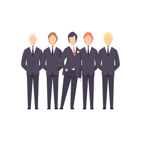 Groom with groomsmen, wedding ceremony vector Illustration isolated on a white background. Иллюстрация