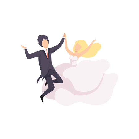 Bride and groom dancing, couple of newlyweds at wedding ceremony vector Illustration isolated on a white background.