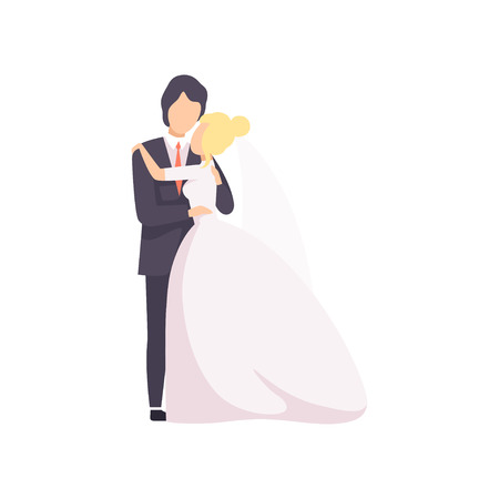 Beautiful elegant wedding love couple embracing at wedding ceremony vector Illustration isolated on a white background.