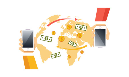 Modern smartphone with processing of mobile payments, electronic funds transfers vector Illustration, web design