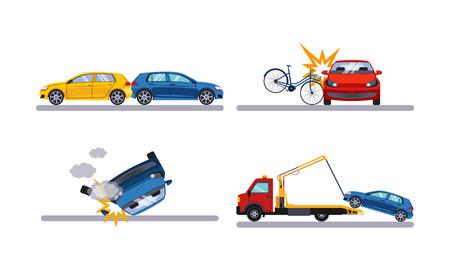 ●オート事故セット、車クラッシュフラットベクトルイラストは白い背景に隔離。