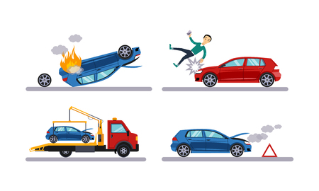 Conjunto de accidentes automovilísticos, accidente automovilístico, hombre atropellado por un coche, vector plano de evacuación ilustración aislada sobre fondo blanco.