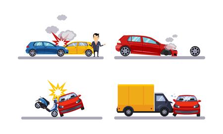 Wypadki samochodowe i crash set płaskie wektor ilustracja na białym tle. Ilustracje wektorowe