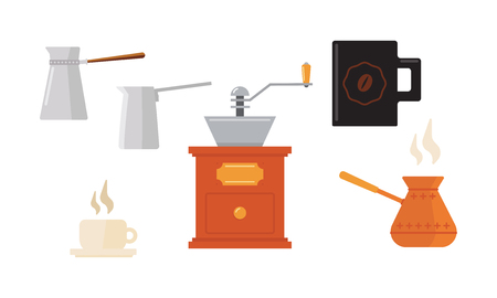 Set of icons related to coffee theme. Cups, Turkish cezve pots and coffee grinder. Hot drink. Equipment for barista. Tasty beverage. Graphic elements for poster of cafe. Isolated flat vector design. Illustration