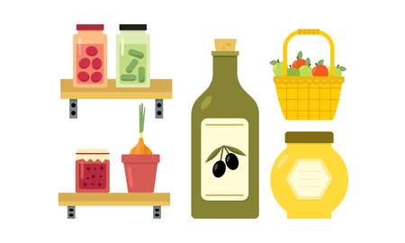 Illustration of basket with apples, pickled cucumbers and tomatoes on shelf, jar of fruit jam and honey, bottle of olive oil, onion in pot. Natural products. Healthy food. Isolated flat vector icons.