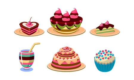 Collection of tasty desserts. Appetizing cakes and pies, cupcake and cocktail. Sweet food and drink theme. Decorative elements for cafe menu. Vector icons in flat style isolated on white background.
