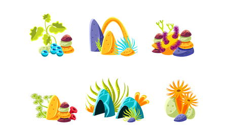 Set of cartoon compositions with different sea algae, corals and stones. Marine plants. Objects for aquarium decoration. Underwater life theme. Elements for mobile game. Isolated flat vector icons.