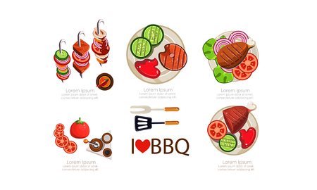 Barbecue icons set, grilled food menu design elements flat vector Illustration isolated on a white background.