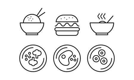 Food line icons set, fast food dishes, cafe, bar, food delivery vector Illustration on a white background