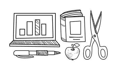 Education icons set, hand drawn school objects vector Illustration isolated on a white background. Illustration