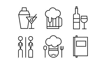 Restaurant lijn iconen set, café, bar, voedsel levering vector illustratie op een witte achtergrond