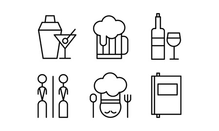 Restaurant line icons set, cafe, bar, food delivery vector Illustration on a white background Banque d'images - 112908158