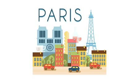 City street, Paris travel poster vector Illustration on a white background Illustration
