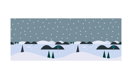 Beautiful winter landscape, snowfall and pine trees, snowy nature background vector Illustration, web design