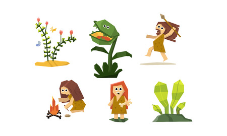 Primitive cave people set, cute geometric prehistoric neanderthal man and woman, carnivorous plant vector Illustration Stock Illustratie