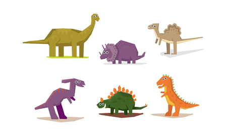 Dinosaurs set, cute geometric Jurassic period animals vector Illustration on a white background