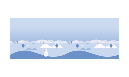 Beautiful winter landscape with snowman, hills and trees, snowy nature background vector Illustration, web design