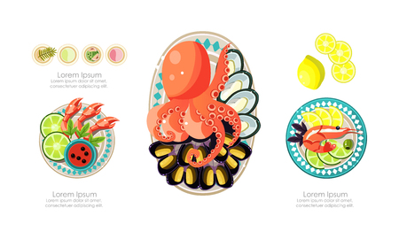 Seafood dishes set, shrimps, octopus, mussels marine products, caviar restaurant menu vector Illustration isolated on a white background.