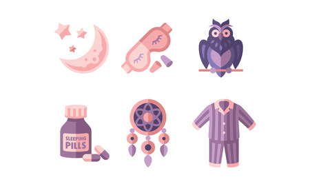 Sleep time, objects for sleep,moon and stars, mask, owl, botlle of pills, dreamcatcher, pajamas, good night flat vector Illustration isolated on a white background.
