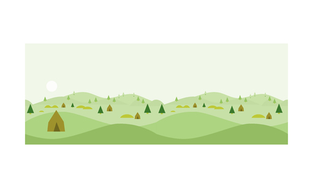 Nature landscape at day time, summer vacation, hiking and camping vector Illustration, web design