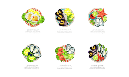 Seafood dishes set, shrimps, mussels, oysters, marine products, caviar restaurant menu vector Illustration isolated on a white background. 写真素材 - 127223746