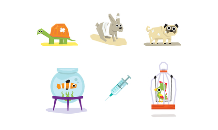Sick and wounded animals set, veterinary care vector Illustration isolated on a white background. Ilustração