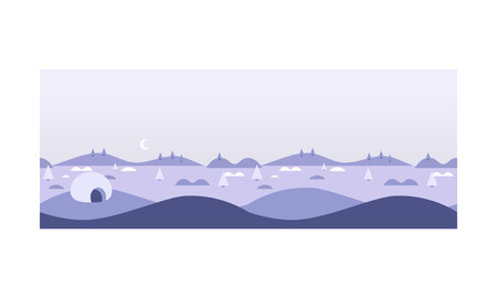 Wild northern landscape, igloo eskimo people house, North Pole vector Illustration, web design Ilustração