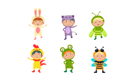 Kids in carnival costumes set, cute little boys and girls wearing insects and animals clothes vector Illustration isolated on a white background.