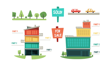 Real estate infographic elements, purchase and sale of property vector Illustration isolated on a white background. Stockfoto - 127223751