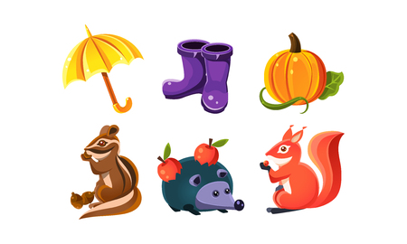 Bright autumn nature design elements, forest animals, plants vector Illustration on a white background