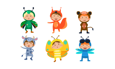 Kids in carnival costumes set, cute little boys and girls wearing insects and animals clothes, fox, dragonfly, monkey, cow, butterfly, firefly beetle vector Illustration Illustration
