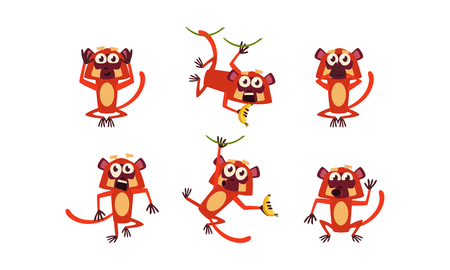 Set of brown lemur with various emotions. Monkey in different poses. Wild animal. Funny cartoon character. Graphic elements for mobile game. Flat vector illustrations isolated on white background.