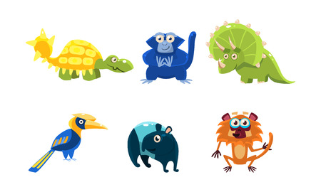 Collection of different animals. Funny cartoon characters. Fauna and wildlife theme. Colorful graphic elements for mobile game or children book. Flat vector illustrations isolated on white background. Illustration
