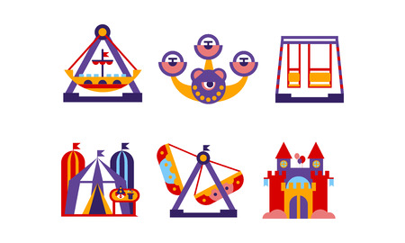 Flat vector set of amusement park elements. Funfair attractions, carousels and circus tent