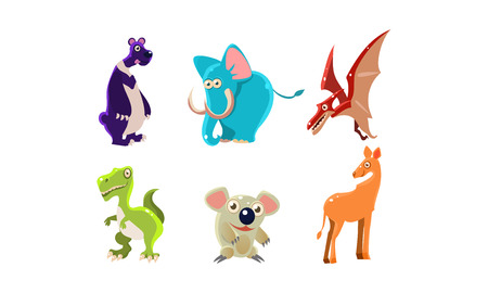 Set of wild animals and Jurassic period creatures. Funny cartoon characters. Wildlife theme. Graphic elements for children book or mobile games. Flat vector illustrations isolated on white background.