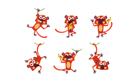 Set of funny brown lemur in different actions. Wild monkey with various emotions. Cartoon animal character. Wildlife and zoo theme. Colorful vector icons in flat style isolated on white background.
