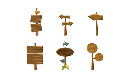 Set of 6 wooden arrows and signboards of different shapes. Banners and pointers for mobile or computer game. Cartoon vector design. Colorful flat vector illustrations isolated on white background.