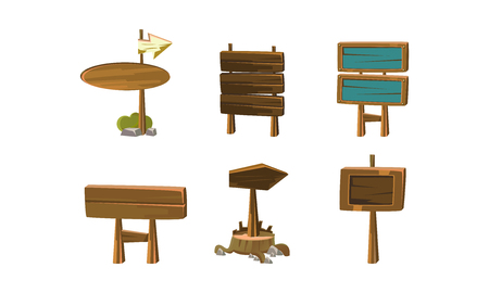 Set of empty cartoon banners. Wooden signboards with place for your text. Flat vector elements for mobile game