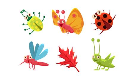 Sammlung süße Insekten und rotes Blatt. Heuschrecke, Schmetterling, Marienkäfer und Mücke. Lustige Zeichentrickfiguren. Lächelnde Käfer. Bunte Vektorillustrationen im flachen Stil lokalisiert auf weißem Hintergrund.