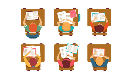 Students of university sitting behind desks with books and notebooks, top view. Education theme. Flat vector design