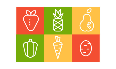 Vector set of fruits and vegetables in linear style in colorful squares. Organic and healthy food. Natural products