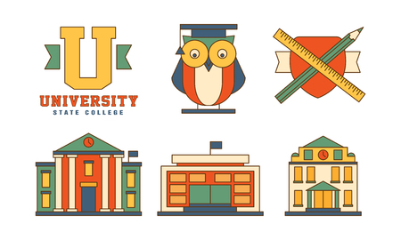 Vector set of flat outline icons related to education theme. Buildings and owl in mantle. Original emblems for university Illustration