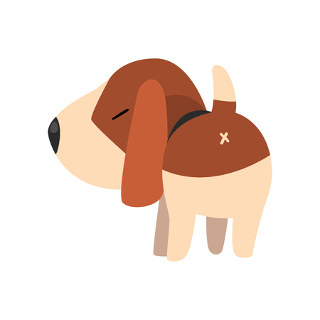 Cute beagle dog, back view, cute funny animal cartoon character vector Illustration on a white background Illustration