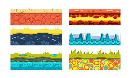 Flat vector set of 6 platforms for mobile game. Blocks with dry soil, lava, green grass, ice and water. Gaming assets.