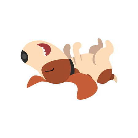 Beagle dog sleeping on his back, cute funny animal cartoon character vector Illustration isolated on a white background.