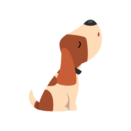 Beagle dog howling, cute funny animal cartoon character vector Illustration isolated on a white background.